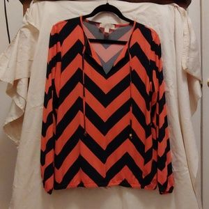 Orange and Navy stripe shirt